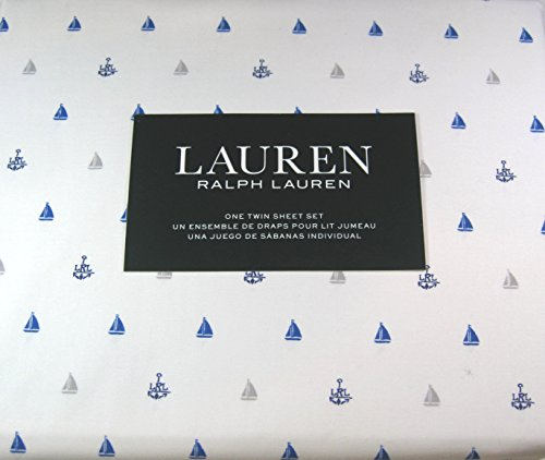 Lauren 3 Piece Twin Size Nautical Sheet Set Sailboats and Anchors 100% Cotton