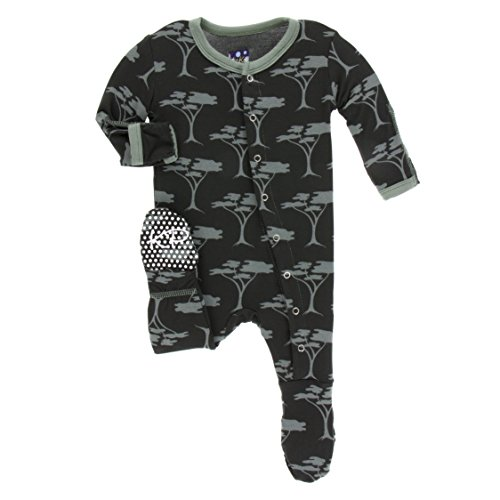 Black Zebra Snap - Kickee Pants Little Boys Print Footie with Snaps - Zebra Acacia Trees, 12-18 Months