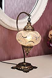 (18 Variations)NEWEST CopperBull 2018 Turkish Moroccan Tiffany Style Handmade Mosaic Table Desk Bedside Night Swan Neck Lamp Light Lampshade, 42cm (15)