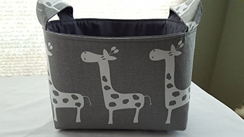 Fabric Organizer Basket Bin Caddy Storage Container - Grey with White Giraffes - Choose Your Lining Color
