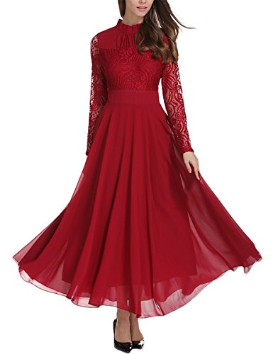 Milumia Women's Vintage Floral Lace Long Sleeve Ruched Neck Flowy Long Dress Burgundy XS