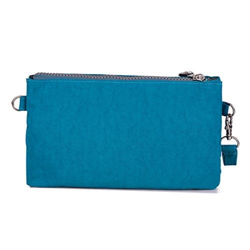 tianhengyi Mujer Multiusos Wristlet Bolso Monedero Teléfono Bolso De Embrague Con Correa Para El Hombro Azul Sea