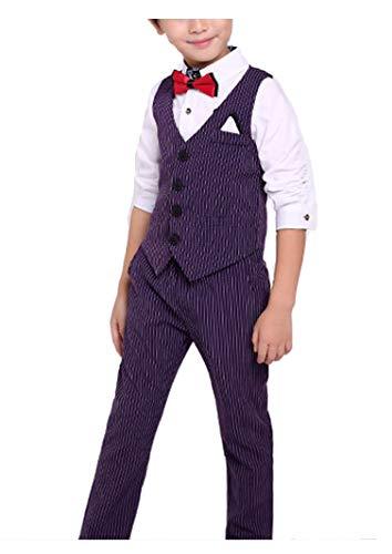 YUFAN Boys Summer Pinstripe Suits Vest Set 2 Pieces Vest and Pants/Shorts Set 3 Colors (6, Purple(Vest+Pants))