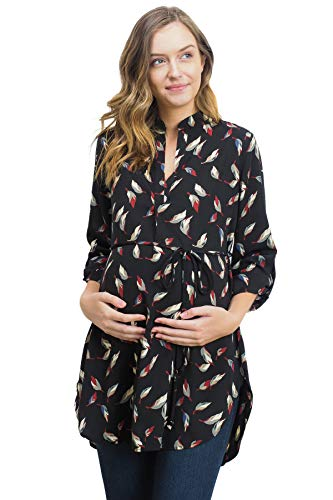 3//4 Sleeve Band Collar V Neck Floral Womens Maternity Blouse Tunic Top