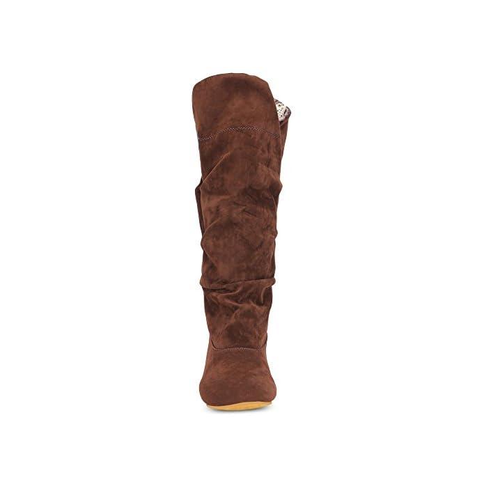 Lieyliso Womens Casual Mid-calf Boots Retro Nop-slip Winter Warm Suede Vamp Scarpe Tacco Piatto color Brown Size 42