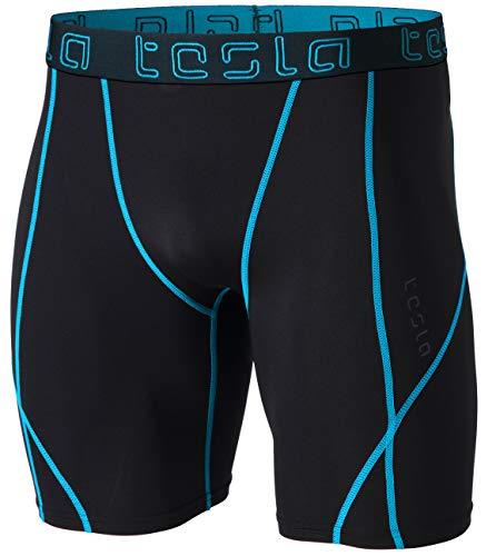 TSLA Mens Compression Shorts Baselayer Cool Dry Sports Tights, Athletic(mus17) - Tron, Medium