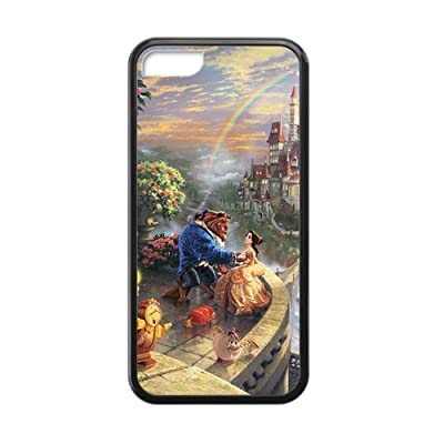 Customized iPhone Case Disney Classic Beauty and the Beast Printed Laser Rubber iPhone 5C Case Cover