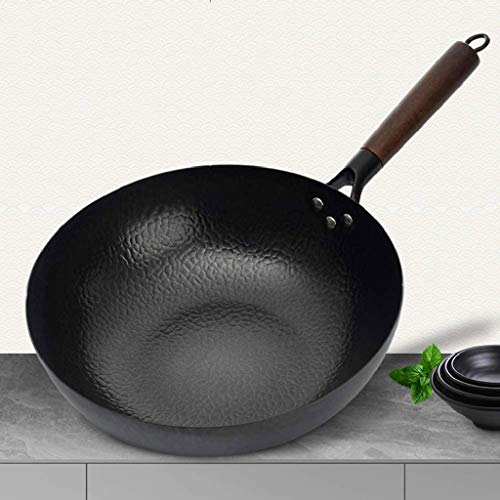 XLEVE Kitchen Craft World of Flavours Uncoated Induction Safe Style Carbon Steel Wok, Elm Traditional Hand Hammered