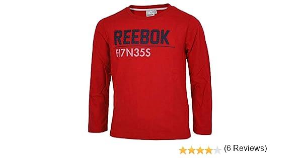 Reebok Long Sleeve T-Shirt Camiseta Boys niños Camisa Manga Larga roja: Amazon.es: Ropa y accesorios