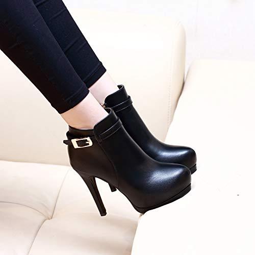Breve Impermeabili Stivali Sexy Alti Black 11cm Rotonda Tabelle Tacchi Con Testa Temperamento Lbtsq Magri scarpe Stivaletti Gli qWnwyRXWA0