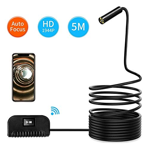 QGT 5.0MP Auto Focus Camera WiFi Endoscope Snake Tube Inspection Camera with 4 LEDs, IP68 Waterproof, Lens Diameter: 14.2mm, 3.5m Hard Cable