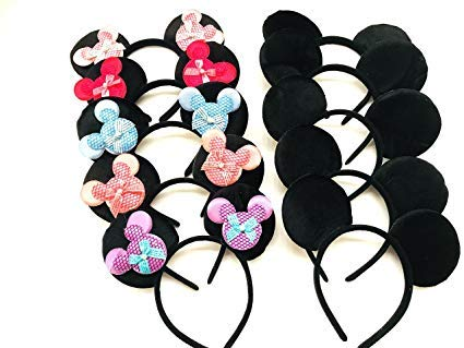 - Mickey Minnie Headband 12 pcs Mickey Minnie Mouse Ears Pink Gold Sequins Bow Headband for Boys and Girls Birthday Party Celebrations