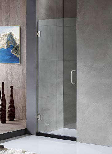 ANZZI Fellow 72 x 30 inch Frameless Hinged Shower Door in Brushed Nickel with Handle | Clear Tempered Deco Glass Shower Doors with Symmetrical Design for Reversible Installation | SD-AZ09-02BN