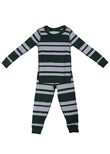 Skylar Luna Boy's Long Sleeve Green/Gray Pajama Set - 100% Soft Organic Cotton Shirt Pants- Hunter Green/Gray for 12-18 Months (His And Hers Cartoon Shirts)