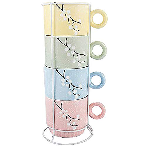 (Ceramic Coffee Mugs Set of 4, Bijou(10.5 oz) Stackable Coffee Cups with Metal Rack Wire Holder Assorted Colors 4 pcs Set)