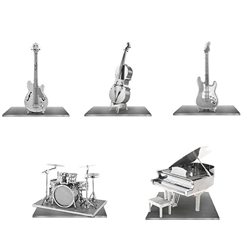 Fascinations Metal Earth Instrument 3D Metal Model Kit Set - Grand Piano , Bass Fiddle, Drum Set, Electric Bass Guitar, Electric Lead Guitar