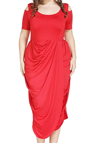 New Gorgeous Red Evening Dress - Plus Size Half Sleeve Asymmetrical Draped Ruched Midi Dress for Cocktail Formal Evening Red, 12W
