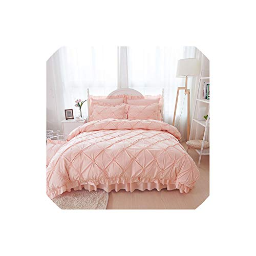 Pocket shop 4/6Pcs Hand-Made Princess Quilt/Duvet Cover Wedding 100% Cotton Ruffles Bedspread Bed Skirts Bedclothes Bedding Sets Beige/Blue,Pink,King Size 6 Pcs