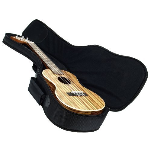 Hola! Music Heavy Duty CONCERT (up to 24 Inch) Ukulele Gig Bag with 15mm Padding, Black ()