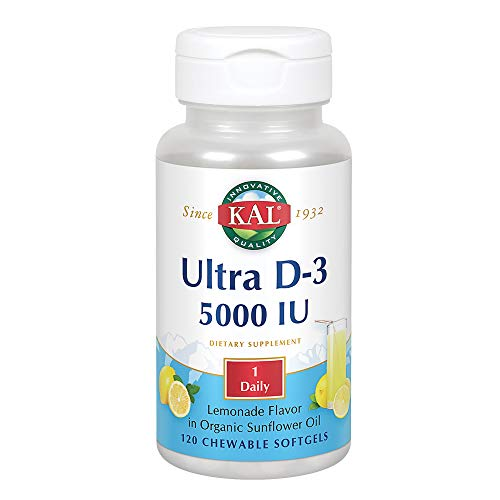 KAL Vitamin D-3 5000 IU | Natural Lemonade Flavor | Healthy Immune Function & Bone Support | Organic Sunflower Oil Base | 120 Chewable Softgels