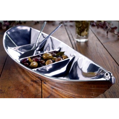 KINDWER Tropical Boat Tray with 2 Oars as Servers, 22-Inch, Silver