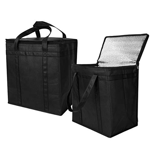 2 Pack Insulated Grocery Bag for Shopping in Medium Size with Sturdy Zipper and Reinforced Handle, Foldable, Stands Upright,Heavy Duty Thermal Totes