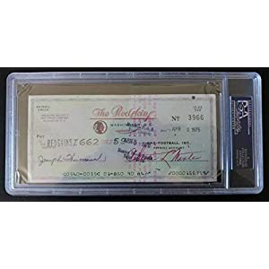 1976 Joseph Joe Theismann Autographed Signed Redskins Payroll Check PSA/DNA Authentic.