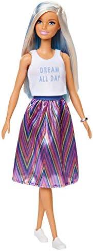 Mattel FXN98 Barbie Quiero Ser Cantante Mattel FXL53 mu/ñeca con Accesorios Color//Modelo Surtido + Fashionista Mu/ñeca con Mechas Azules y Falda Estampada