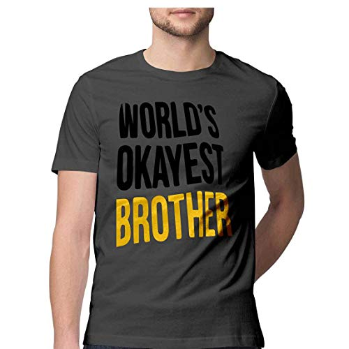 PARTUM CORDE Worlds Okayest Brother T Shirt (Charcoal Grey, Small)