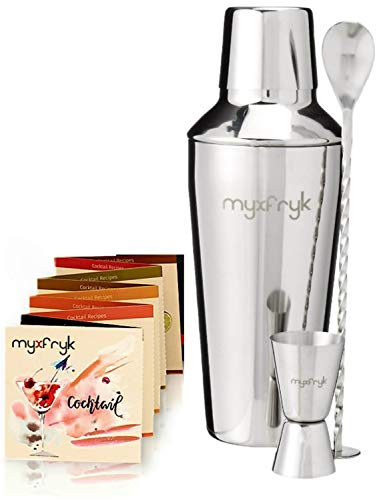 Leak Proof Cocktail Shaker Set by MYXFRYK - Bartender kit with Measuring Jigger and Mixing spoon, 24 Ounce Martini kit with Built-in strainer plus 16 Drink Recipes Booklet - Stainless Steel Bar Tools