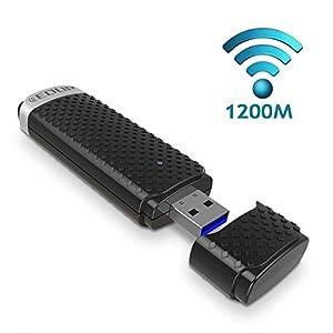 Kfine AC1200 Dual Band(5GHz and 2.4GHz) wireless USB wifi adapter, Supports Windows XP / Vista / 7 / 8 / 8.1 / 10 (32/64bits) MAC OS X 10.12.X / 10.11.X / 10.10.X / 10.9.X / 10.8.X /10.7.X / 10.6.X