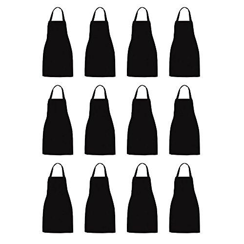 NOBONDO 12 Pack Bib Apron - Unisex Black Apron Bulk 2 Roomy Pockets Machine Washable Kitchen Crafting BBQ Drawing