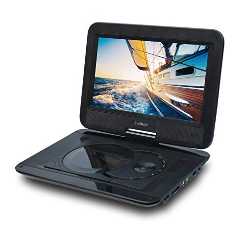 """SYNAGY 10.1"""" Portable DVD Player CD Player with Swivel Screen Remote Control Rechargeable Battery Car Charger Wall Charger, Personal DVD Player"""