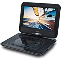 SYNAGY 10.1 Portable DVD Player CD Player with Swivel Screen Remote Control Rechargeable Battery Car Charger Wall Charger, Personal DVD Player