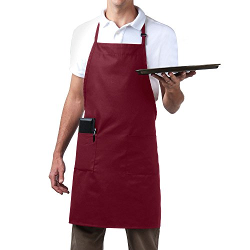 Bib Aprons-MHF Brand-1 Piece-new Spun Poly-Commercial Restaurant Kitchen- Adjustable-Full length-3 Pockets (Wine)