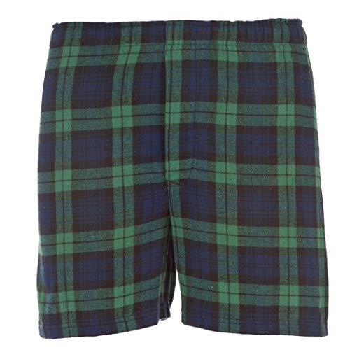 boxercraft Men's Cotton Flannel Plaid Boxer Sleep Shorts, Small, Blackwatch Green/Navy