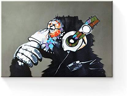 Modern Framed Gorilla Monkey Music Wall Decoration Home Decor Oil Painting on Canvas