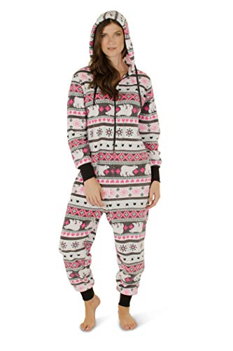 Totally Pink Women's Plush Warm Cozy Character Adult Onesies for Women One-Piece Novelty Pajamas (Large, -