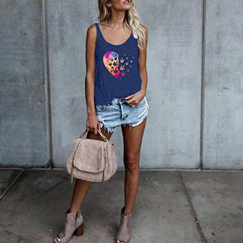 Sunhusing Ladies Love Heart Printing Tank Tops Solid Color Sleeveless Round Neck Vest Comfort Top Tee Blue