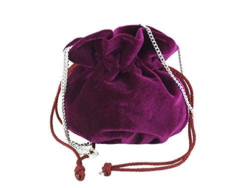 (LONI British Hand Made Fantasy Suede Velvet Drawstring Clutch Shoulder Cross-body Bag)