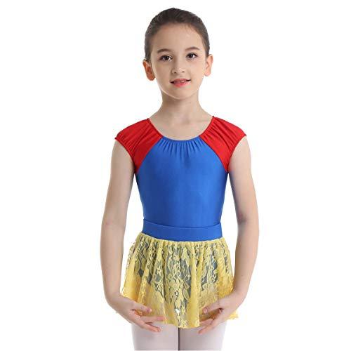 (Alvivi Kids Girls Princess Ballet Dance Tutu Dress Leotard Party Dancewear Costumes (Snow White Blue&Yellow, 3/4))