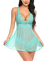 c63d41f4b7 Women Lingerie Lace Babydoll Strap Chemise Halter Teddy V Neck Sleepwear