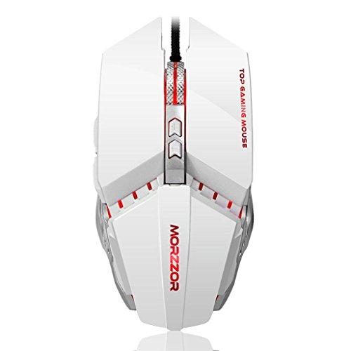 Bescita 3200 DPI 6D Knöpfe Professionelle LED optische mechanische verdrahtete Spielmaus für PC Laptop Weiß 5lUUeUm