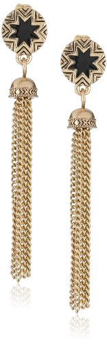 House of Harlow 1960 Gold Tone Enamel Sunburst Tassel Drop Earrings