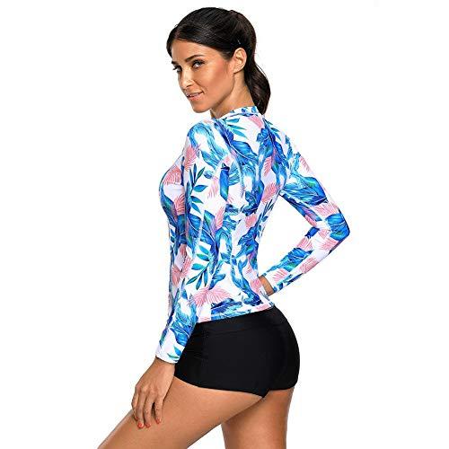 Donna Zip Con Blue La Conservatore Nbe Balneazione Lungo Top Plus Manicotto Dimensioni Tropicale Foglia Rashguard Swimwear Light dqHaYwX