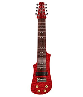 Vorson LT2308 TR 8-String Lap Steel Guitar with Gig Bag, Trans Red Quilt