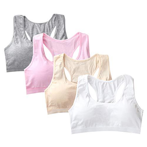 Lee Pullover Sports - Evelin LEE Girls 4 Packs Underwear Cotton Seamless Bra Soft Training Sports Crop Undies