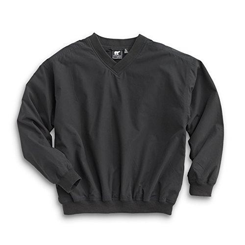 WH. Bear Men's Fully Lined V-Neck Golf and Wind Shirt - Black/Black, 5X-Large