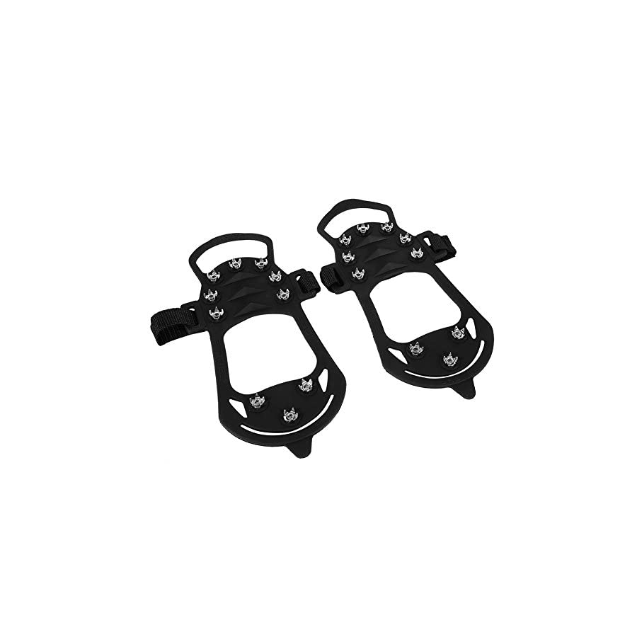Ice Grippers 1 Pair Of Black 10 teeth Ice Spikes Crampons Anti Slip Spikes Gourd Shape Grips for Walking, Jogging, or Hiking on Snow and Ice
