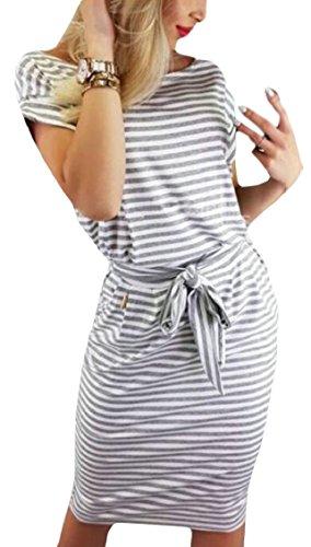 Jaycargogo Bande Femmes Manches Courtes Longueur Genou Robe Midi Avec Des Poches 1